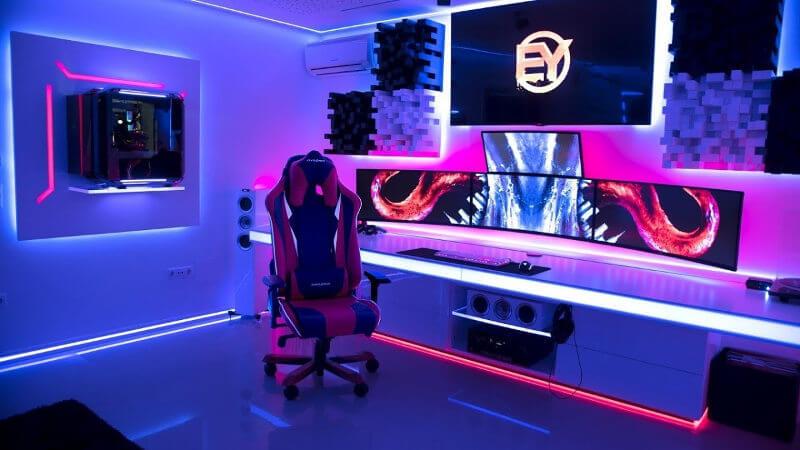 Habitación gamer con luces led